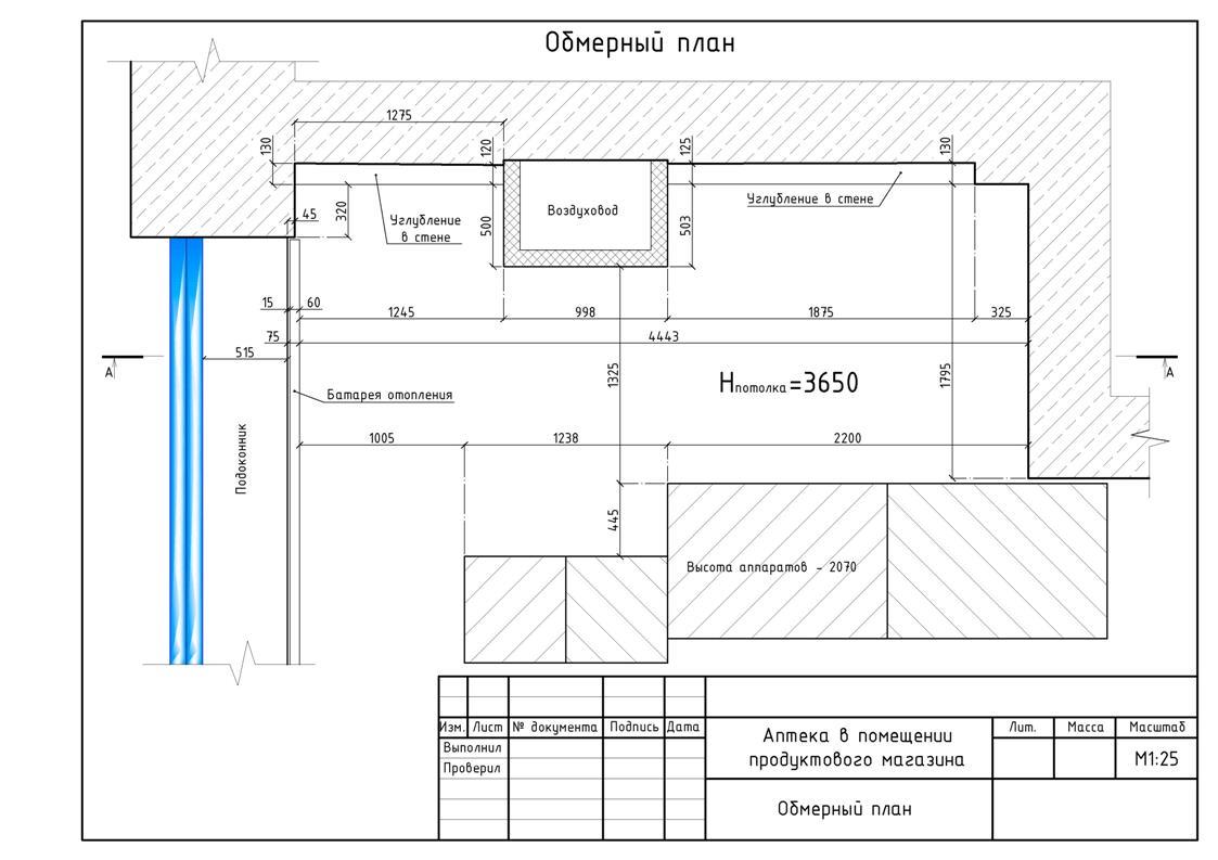 Обмерочный план помещения аптеки